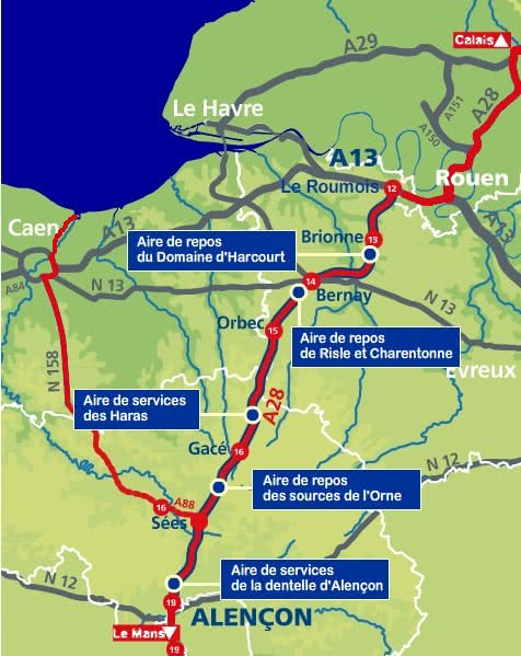 A88 from Caen and A28 from Rouen (Calais)